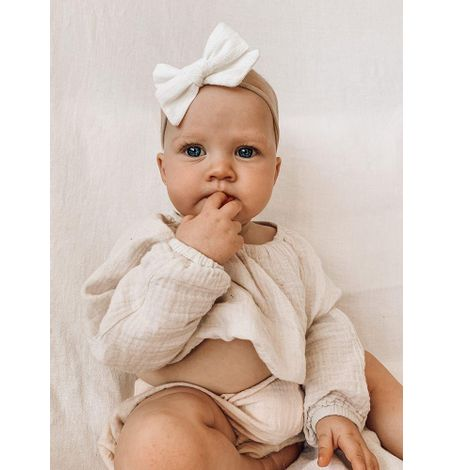 White Embroidery Bow, Newborn to Toddler Hairband, Soft Headwrap Hair Accessory