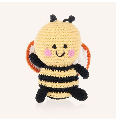 Friendly Bumble Bee Rattle - Hand Crocheted
