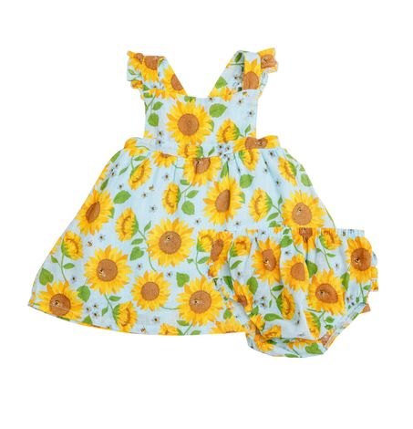 Sunflower Dress and Bloomer Set, One Piece Summer Outfit