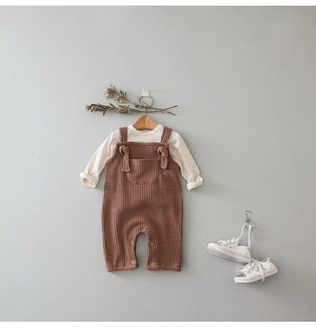 Waffle Overalls, Chest Pocket, Bottom Snaps, Self Tie Knots, Unisex