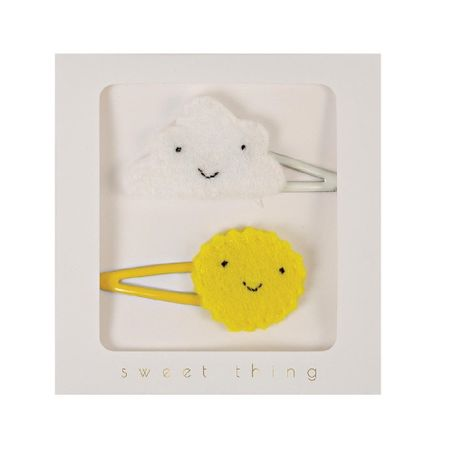 Cloud and Sun Felt Hair Clips, Embroidered Smiling Faces Hair Accessories