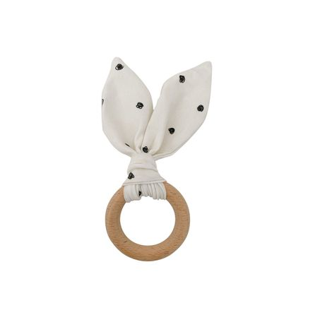 Crinkle Bunny Ear Teether - Wooden Ring
