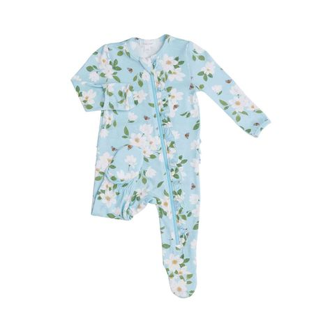 Magnolia Ruffle Front Zipper Footie, Floral Print, Sleep and Play Pajamas