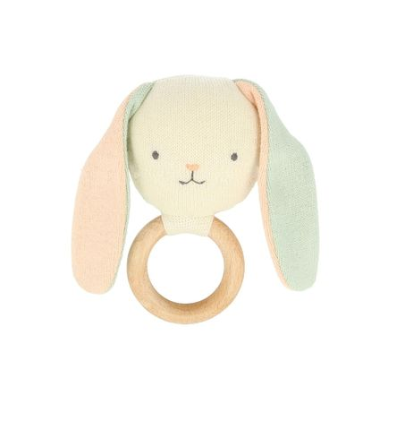 Bunny Baby Rattle - Wooden Teething Ring