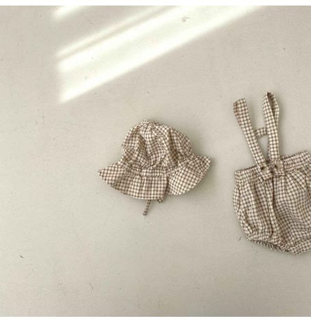 Gingham Bloomer and Hat Set