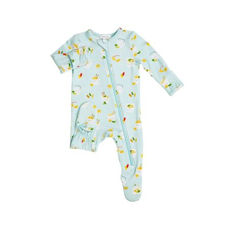 Take Out Front Zipper Footie, Food Print, Soft & Comfortable Pajamas