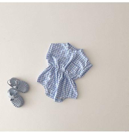 Terrycloth Gingham Romper
