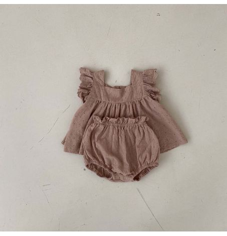 Ruffle Sleeve Floral Eyelet Top and Bloomer Set