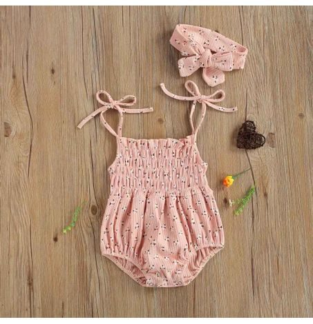 Baby Smocking Front Shoulder Tie Floral Onesie  with Matching Headband