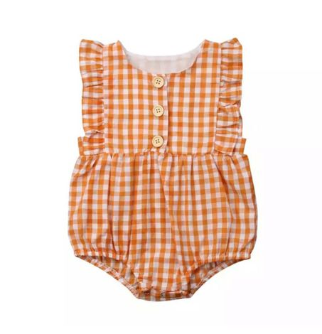 Baby Ruffle Gingham Button Front Onesie