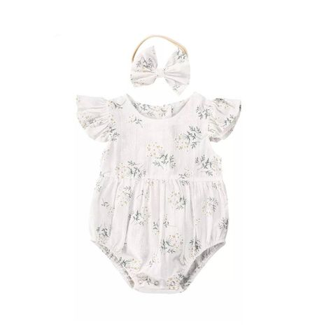 Baby Floral Ruffle Sleeve Onesie and Matching Headband