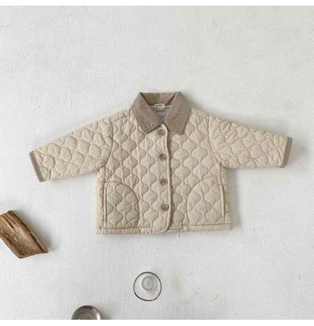 Baby Quilted Jacket with Corduroy Collar